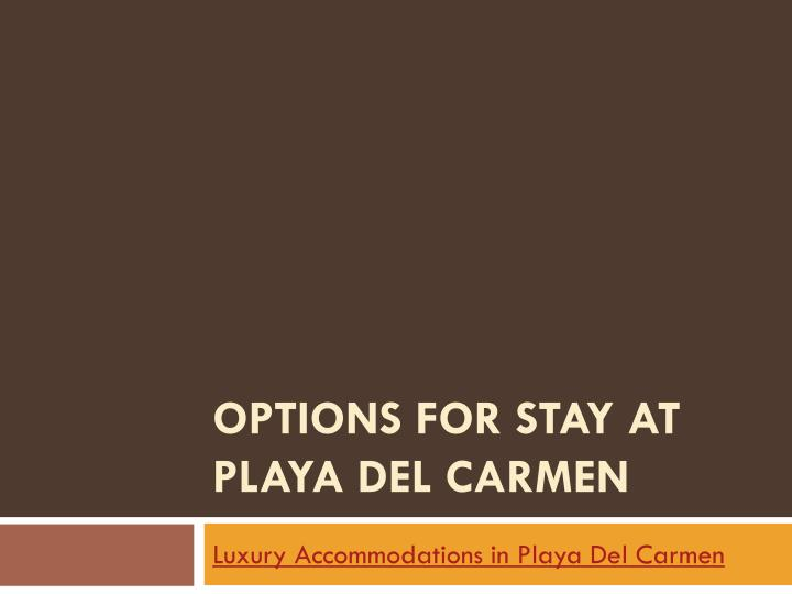 options for stay at playa del carmen n.