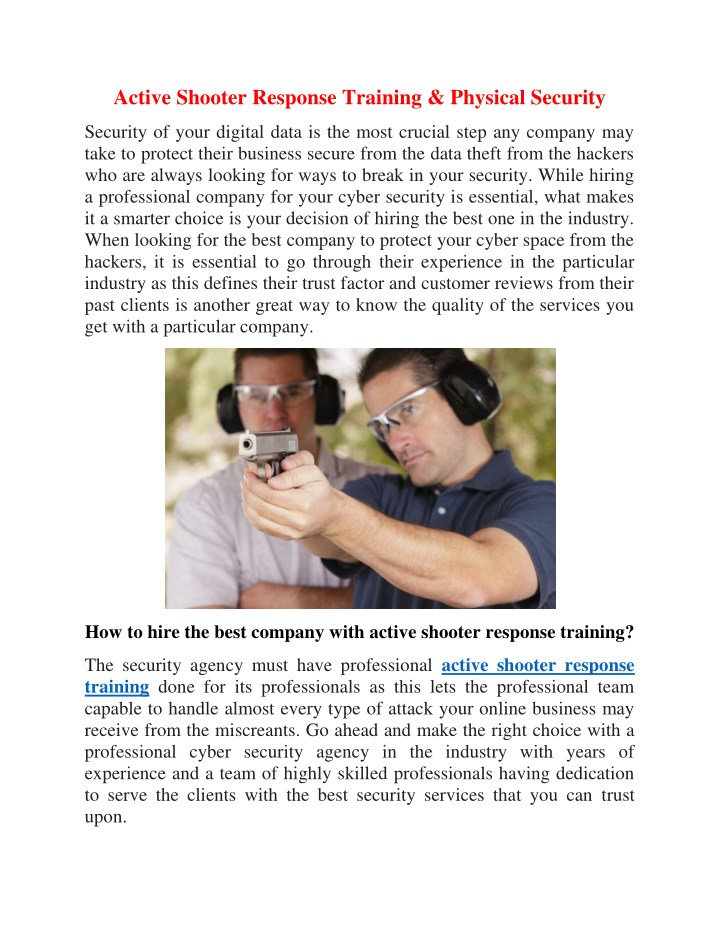 active shooter response training physical security n.