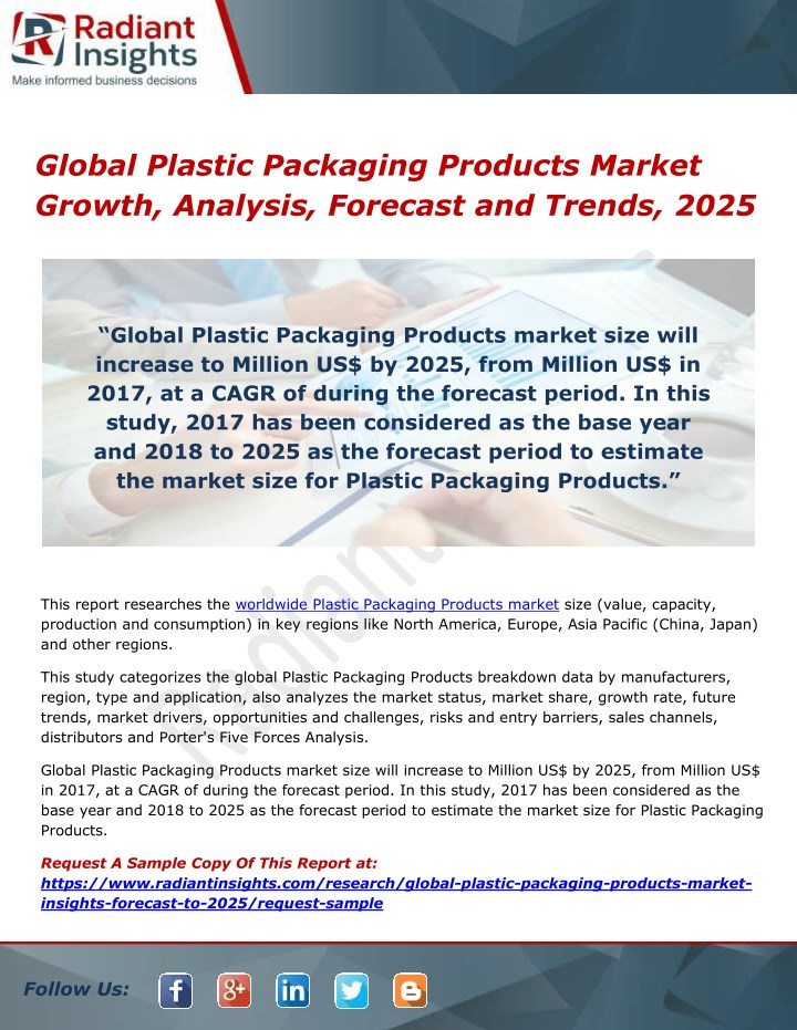 global plastic packaging products market growth n.