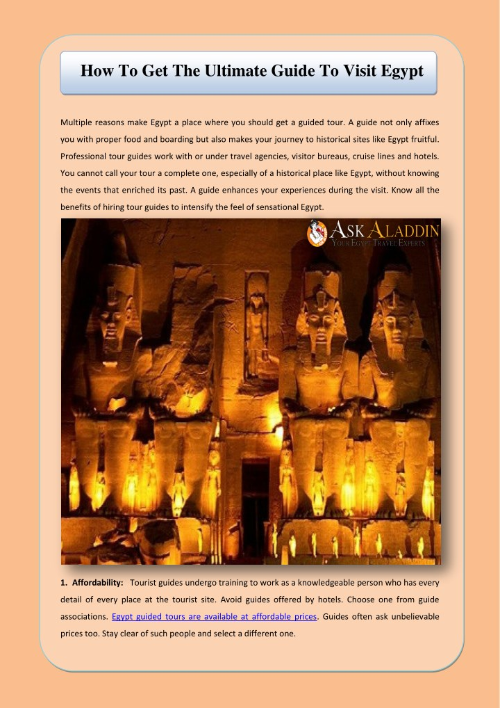 how to get the ultimate guide to visit egypt n.