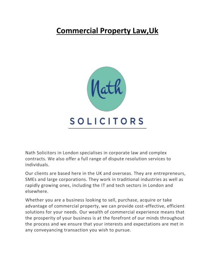 commercial property law uk n.