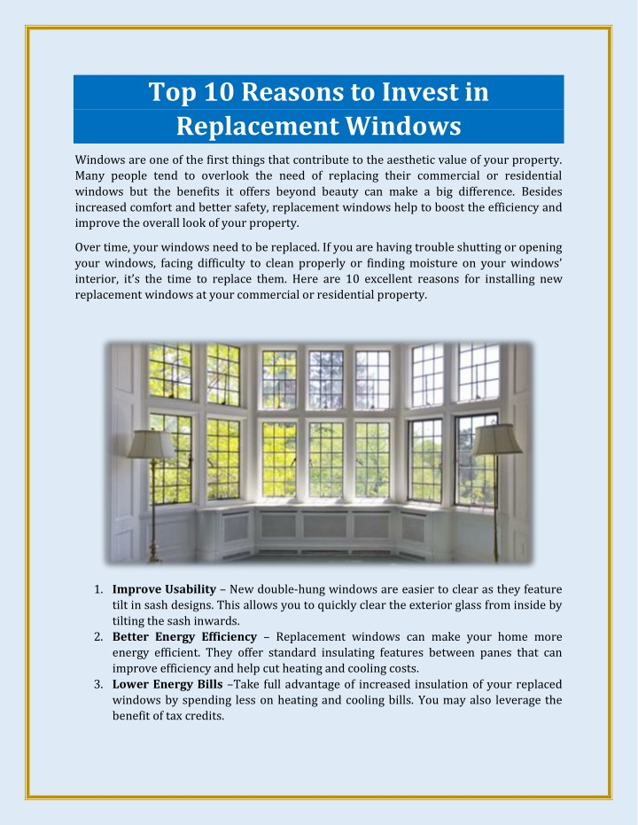top 10 reasons to invest in replacement windows n.