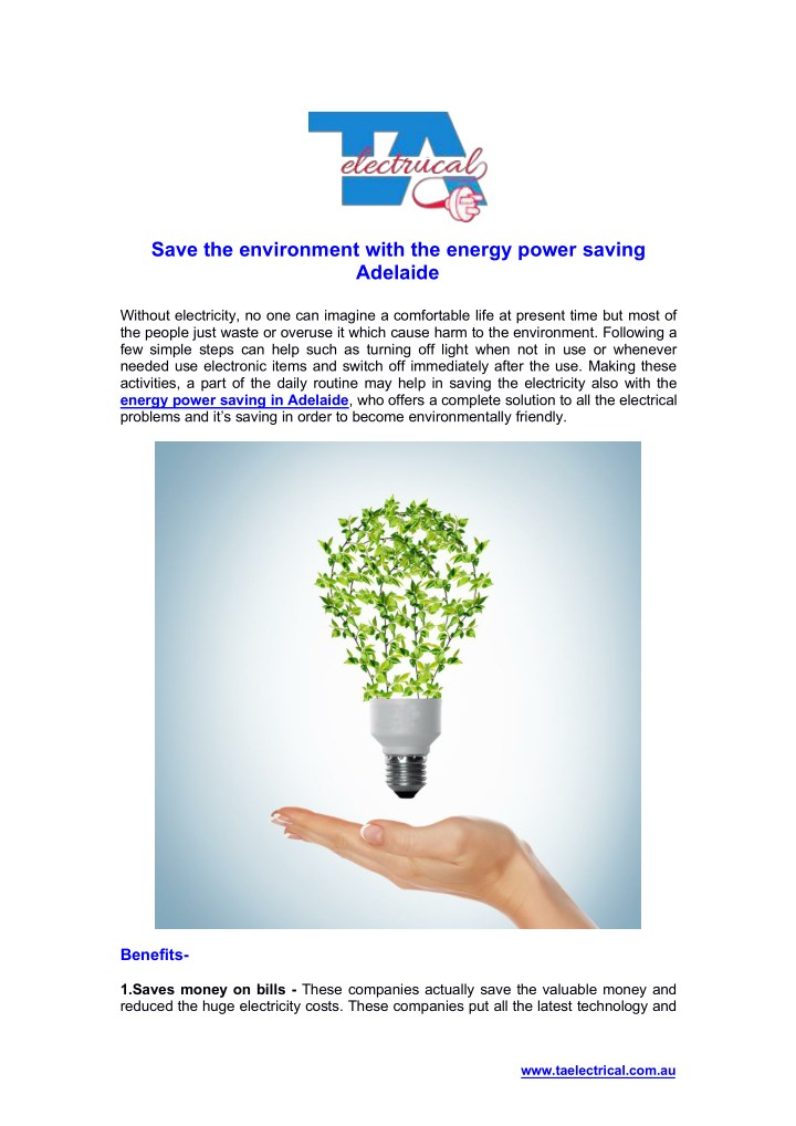 save the environment with the energy power saving n.