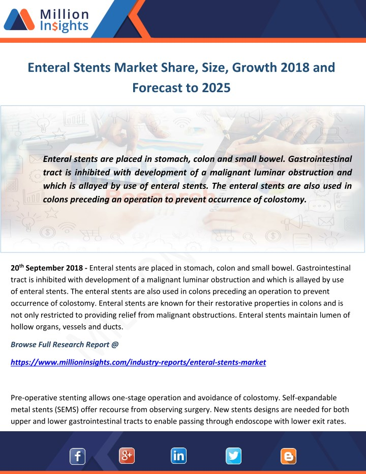 enteral stents market share size growth 2018 n.