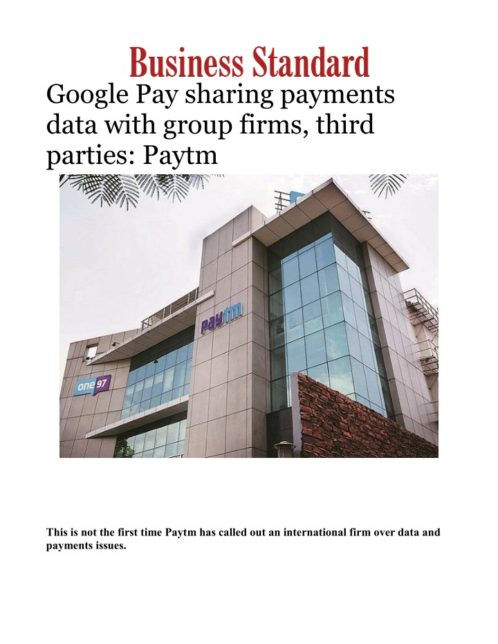 google pay sharing payments data with group firms n.