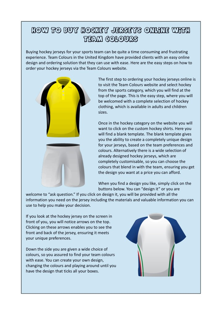 PPT - How to Buy Hockey Jerseys Online with Team Colours ...