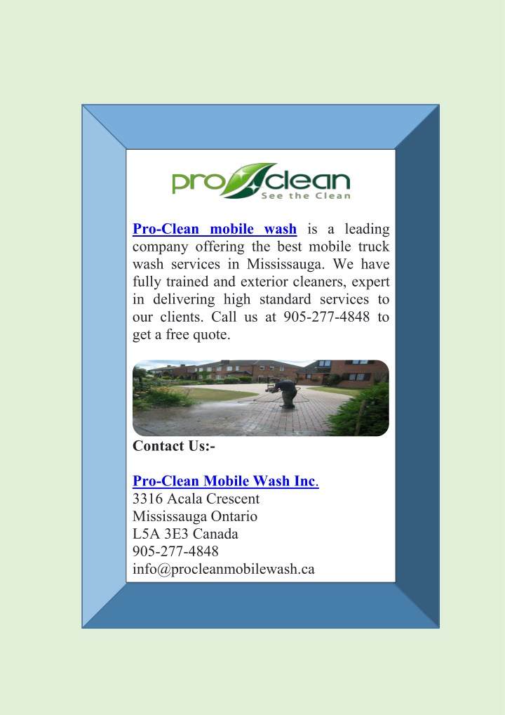 pro clean mobile wash is a leading company n.