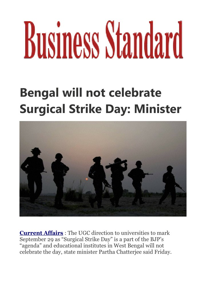 bengal will not celebrate surgical strike n.