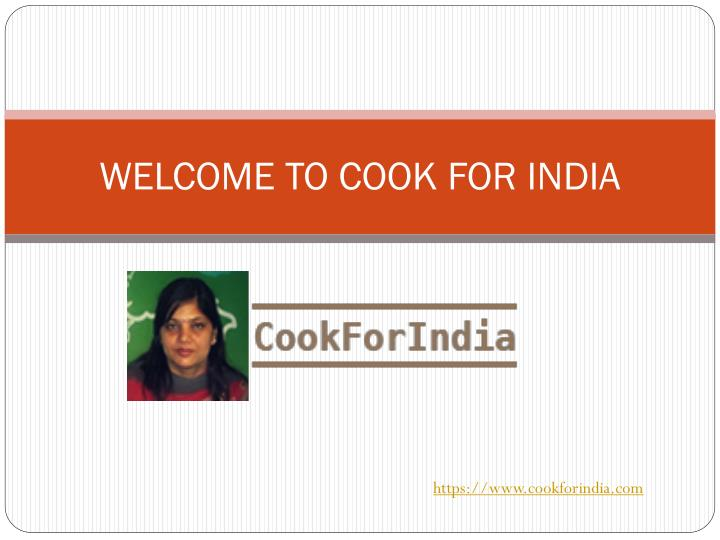 welcome to cook for india n.