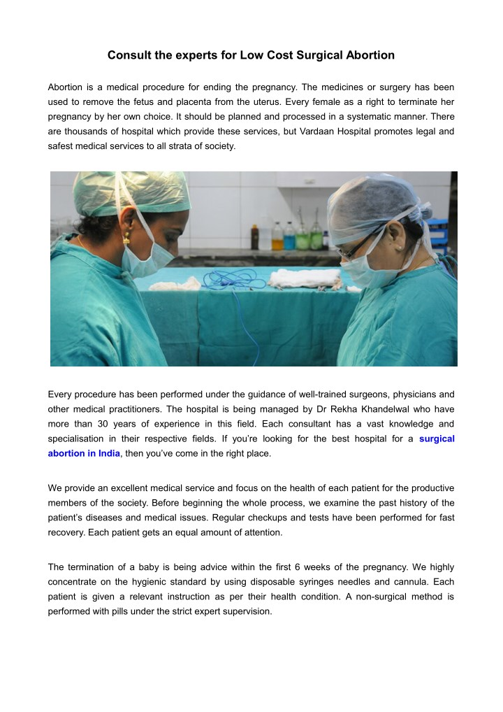 consult the experts for low cost surgical abortion n.