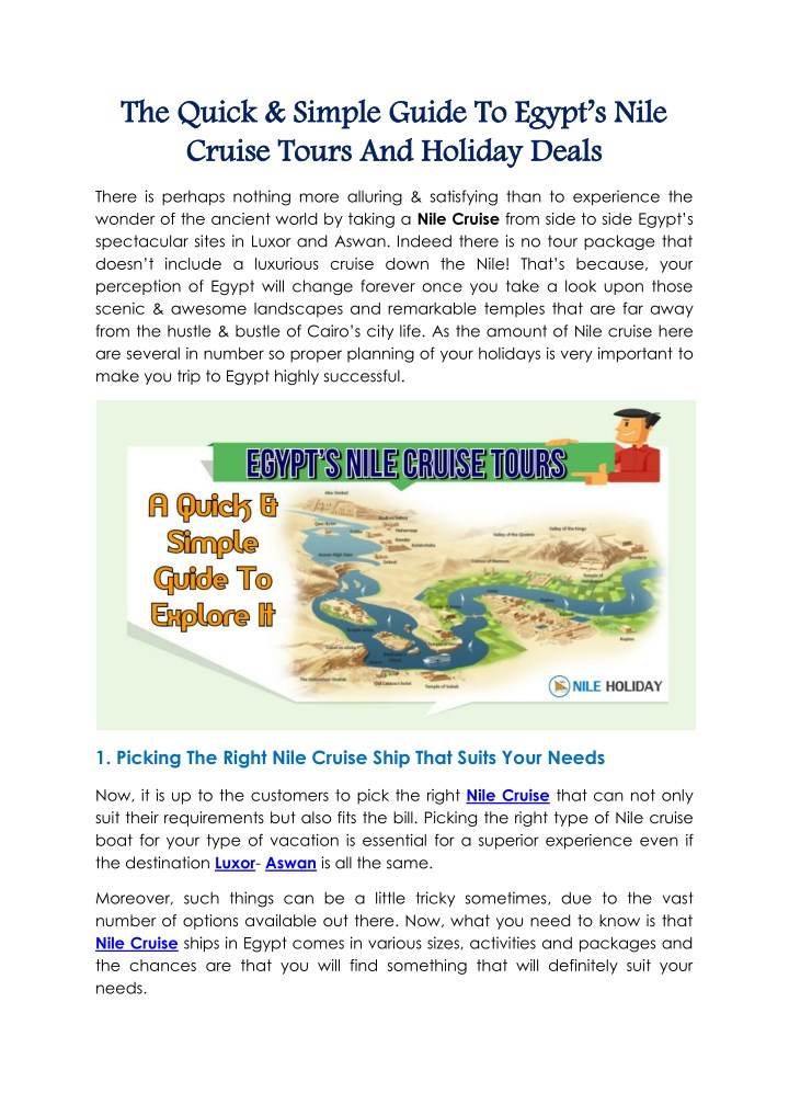 the quick simple guide to egypt s nile the quick n.