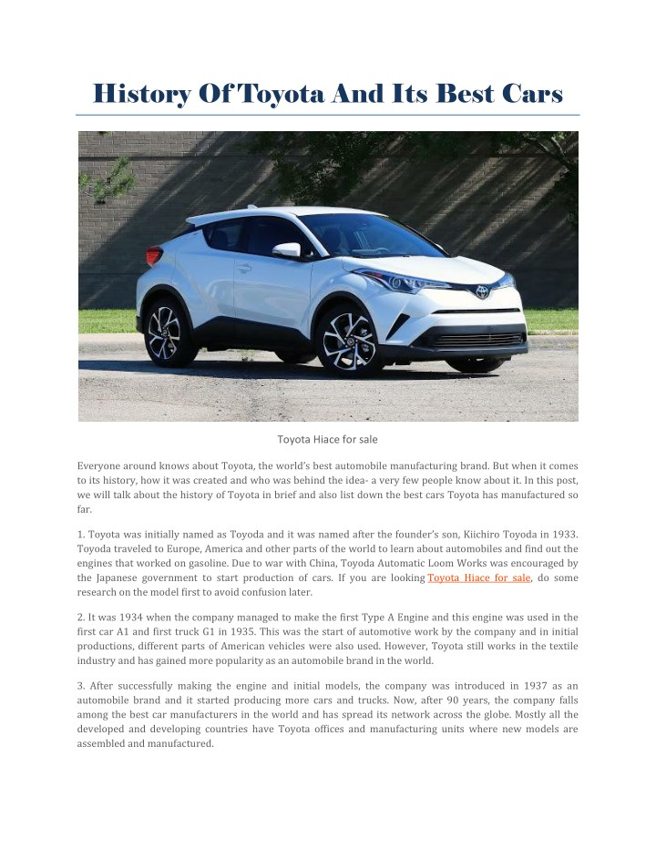 history of toyota and its best cars n.