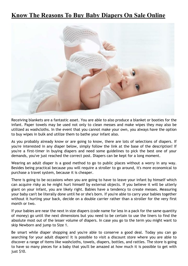 know the reasons to buy baby diapers on sale n.