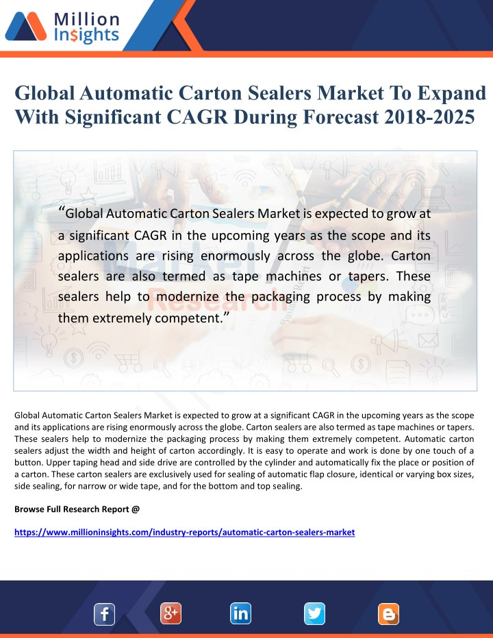 global automatic carton sealers market to expand n.