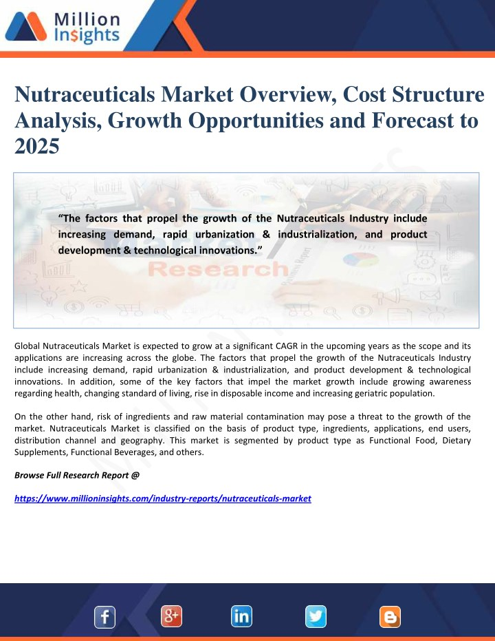 nutraceuticals market overview cost structure n.