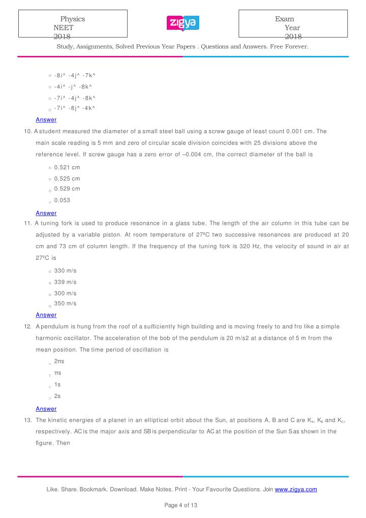 PPT - 2018 NEET Physics Solved Paper PowerPoint Presentation