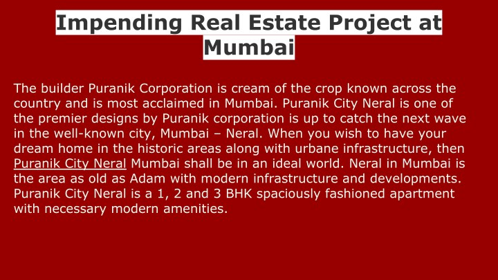 impending real estate project at mumbai n.