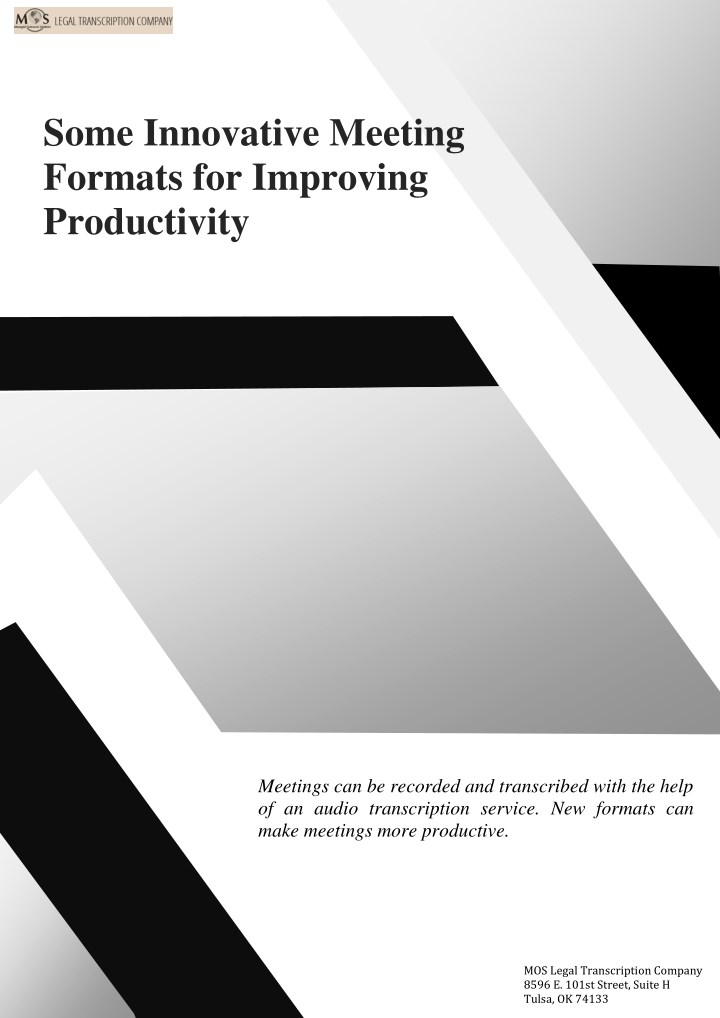 some innovative meeting formats for improving n.