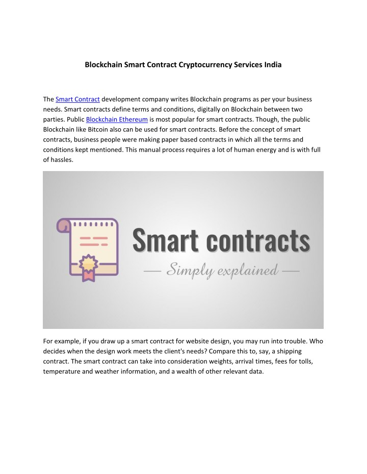 blockchain smart contract cryptocurrency services n.