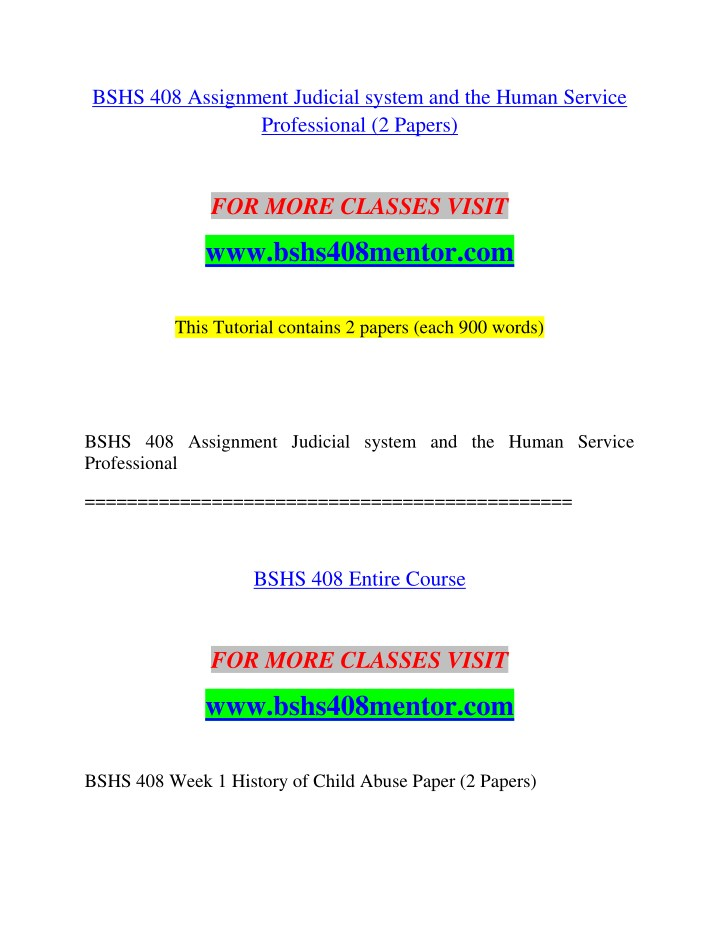 bshs 408 assignment judicial system and the human n.