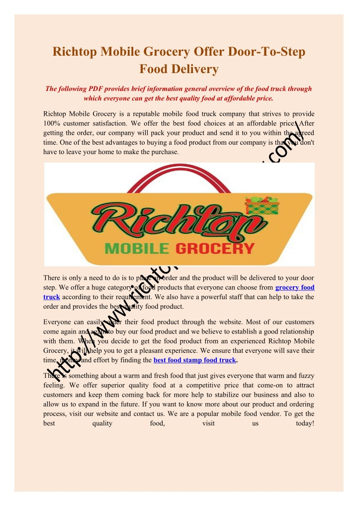 richtop mobile grocery offer door to step food n.