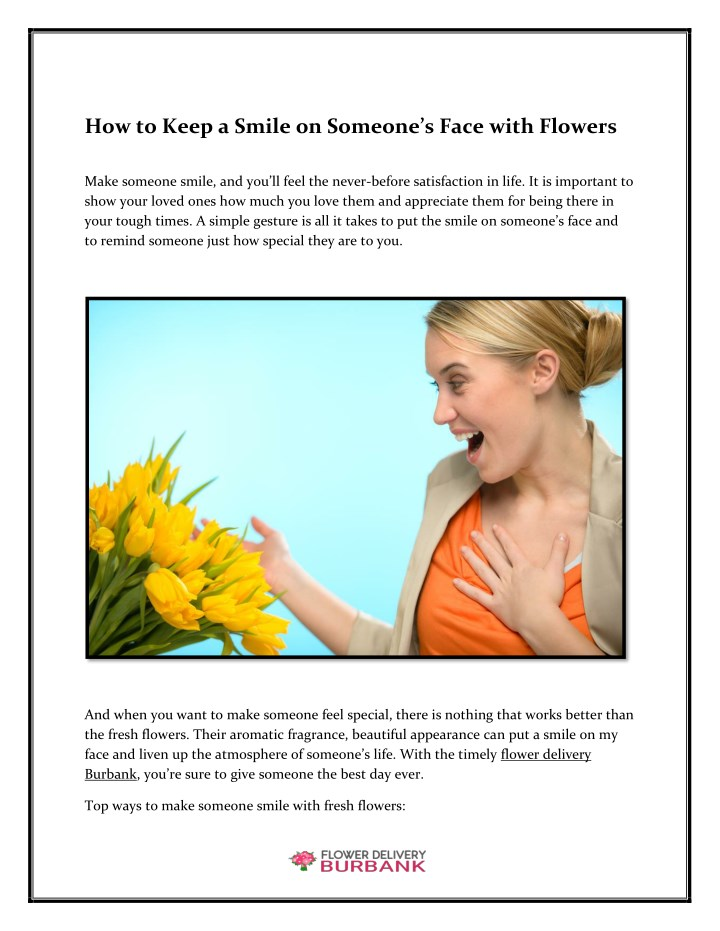 how to keep a smile on someone s face with flowers n.