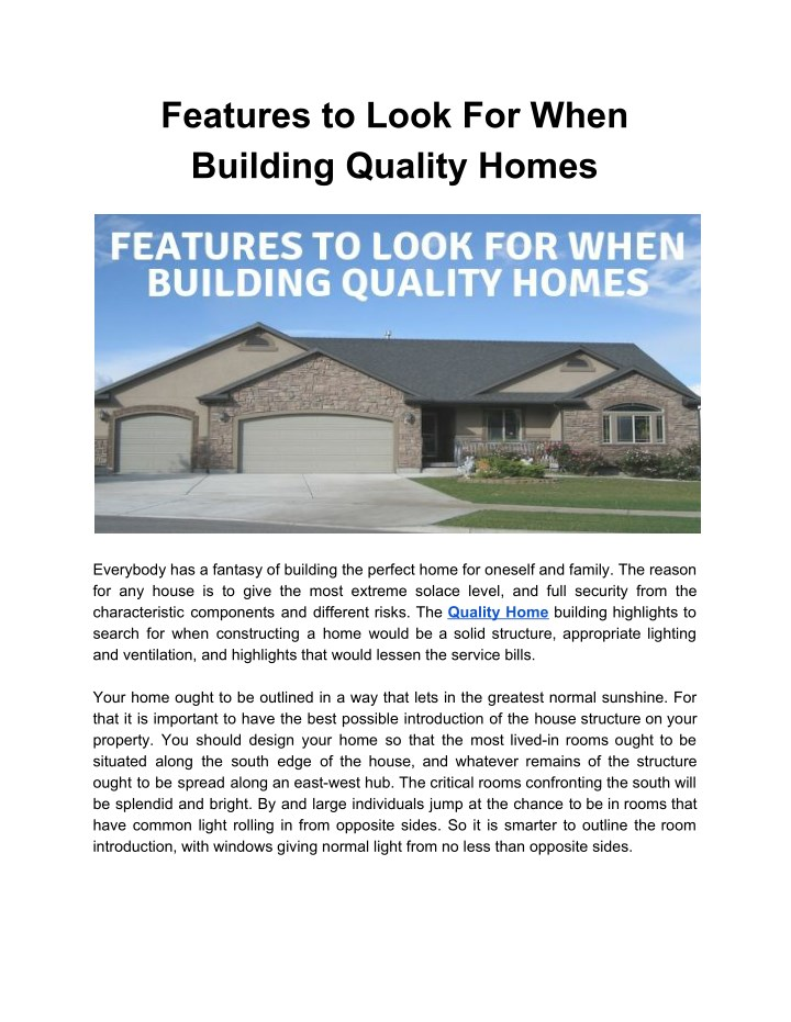 features to look for when building quality homes n.