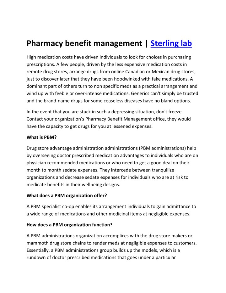 pharmacy benefit management sterling lab n.
