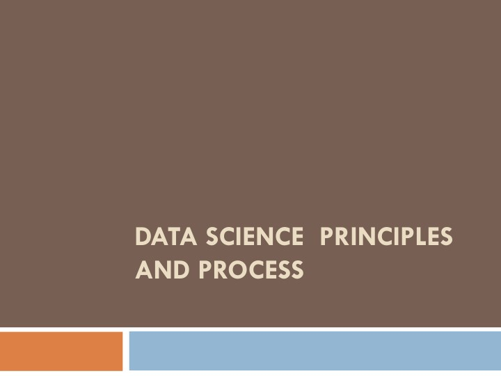 data science principles and process n.