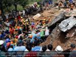rescuers search for people trapped in a landslide