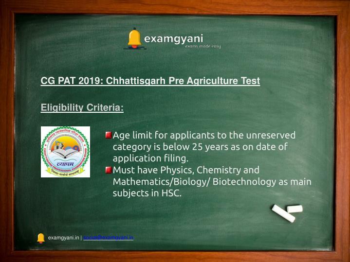 PPT - CG PAT 2019: Application Form, Admission Details