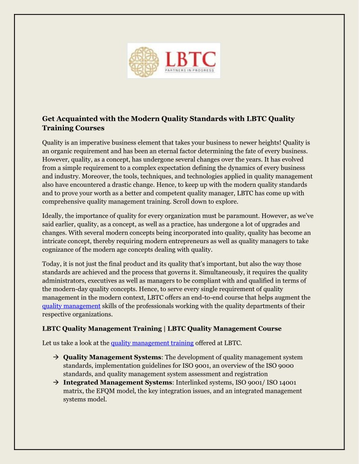 get acquainted with the modern quality standards n.