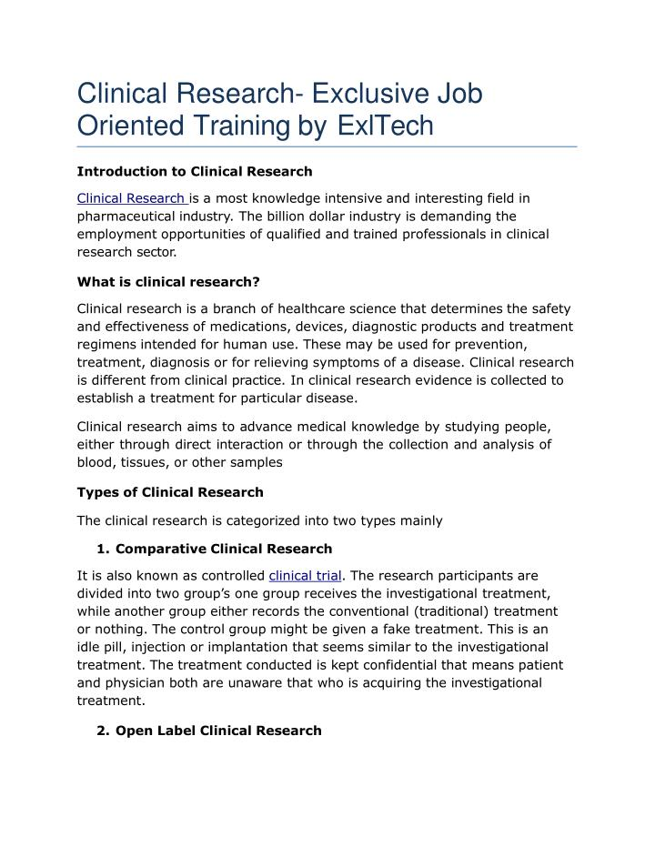clinical research exclusive job oriented training by exltech n.