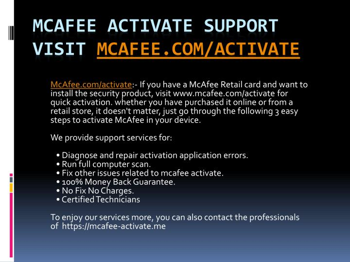 mcafee activate support visit mcafee com activate n.