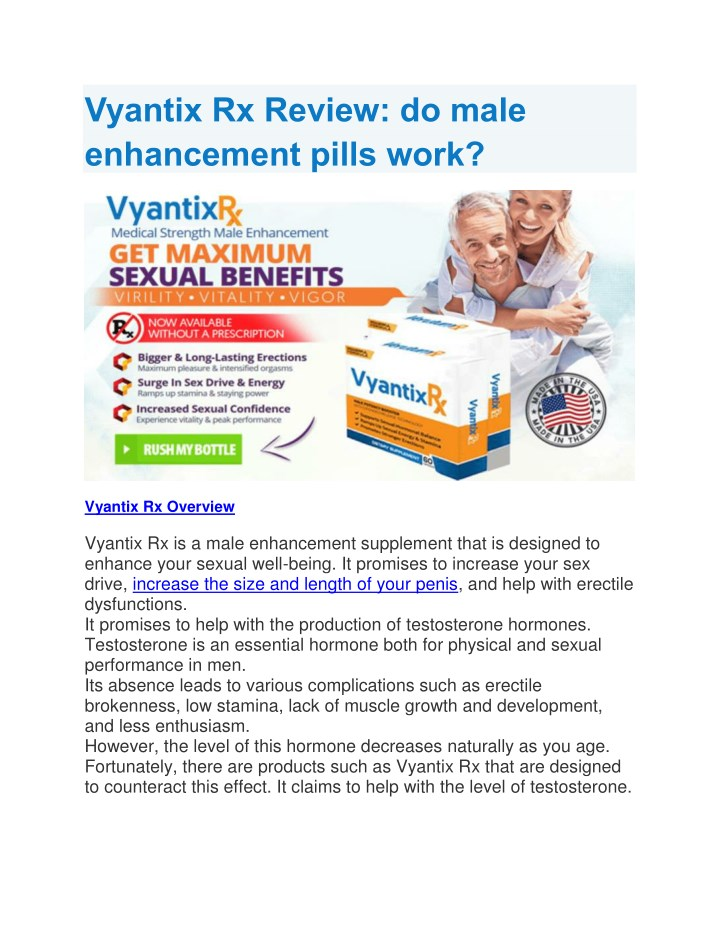 vyantix rx review do male enhancement pills work n.