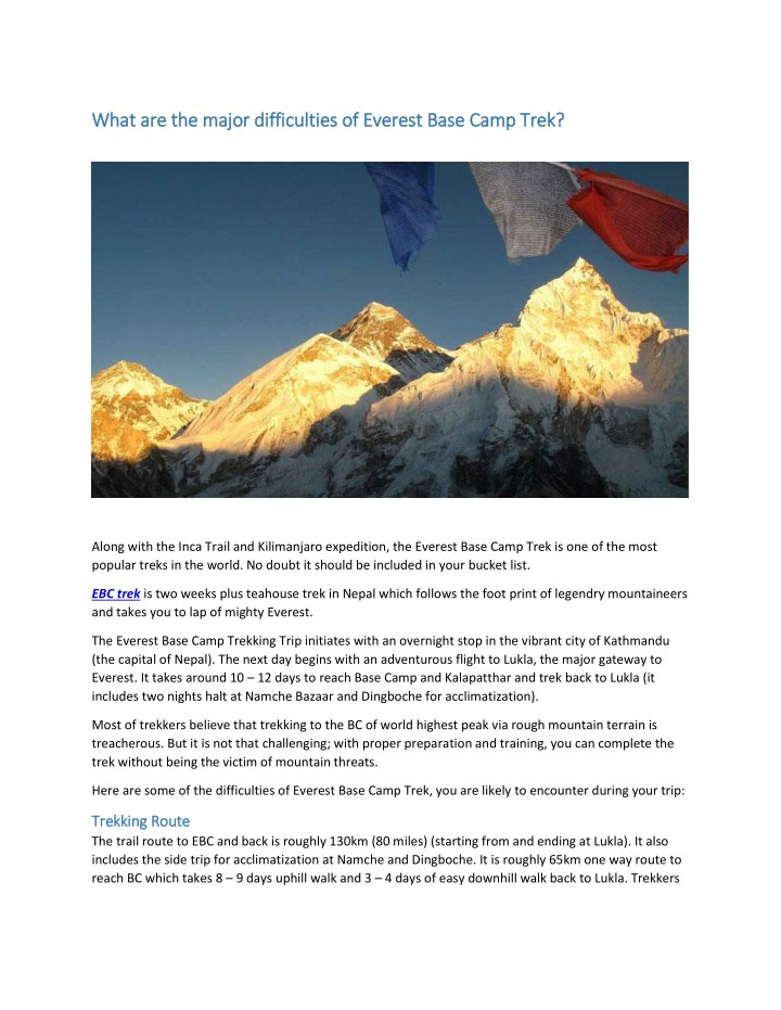what are the major difficulties of everest base n.
