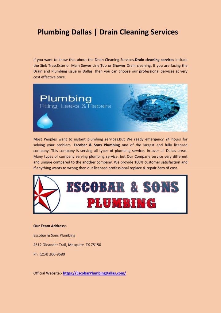 plumbing dallas drain cleaning services n.