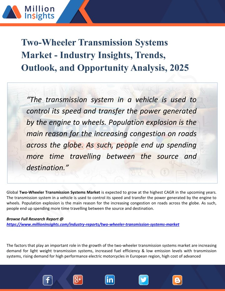 two wheeler transmission systems market industry n.