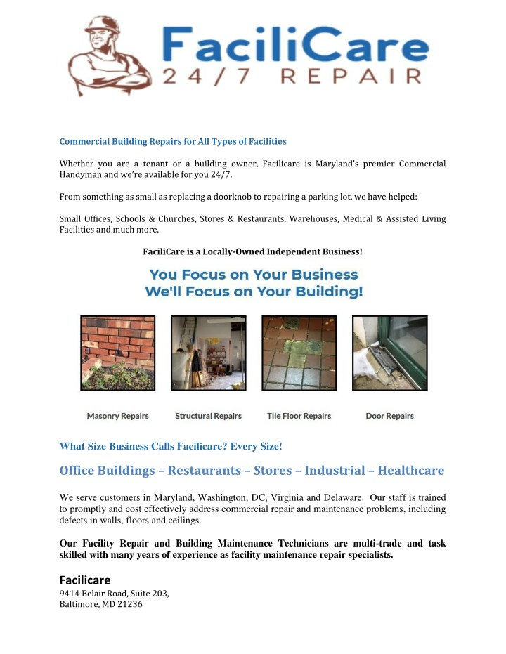 commercial building repairs for all types n.