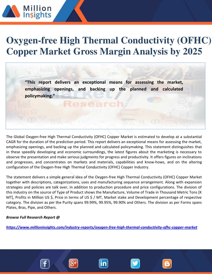 oxygen free high thermal conductivity ofhc copper n.