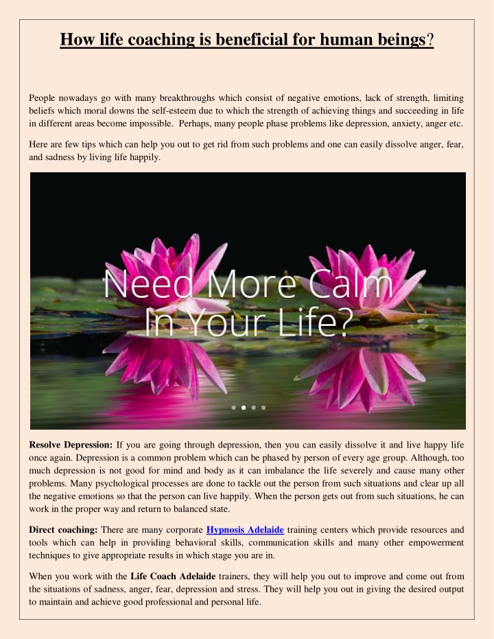 how life coaching is beneficial for human beings n.