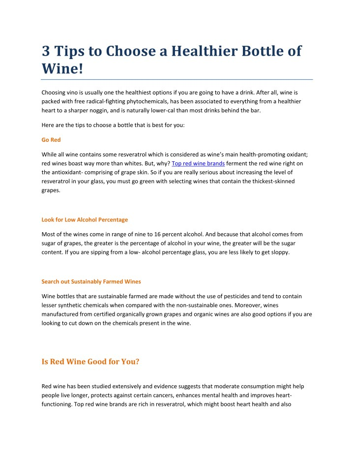 3 tips to choose a healthier bottle of wine n.