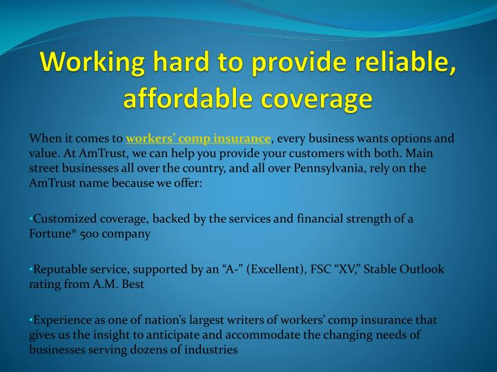 working hard to provide reliable affordable coverage n.