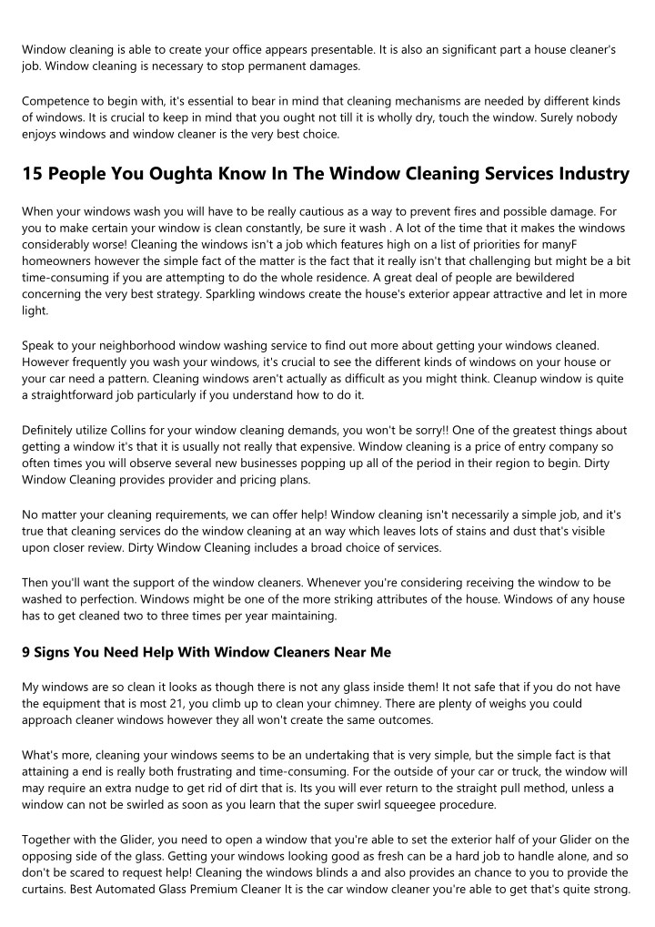 window cleaning is able to create your office n.
