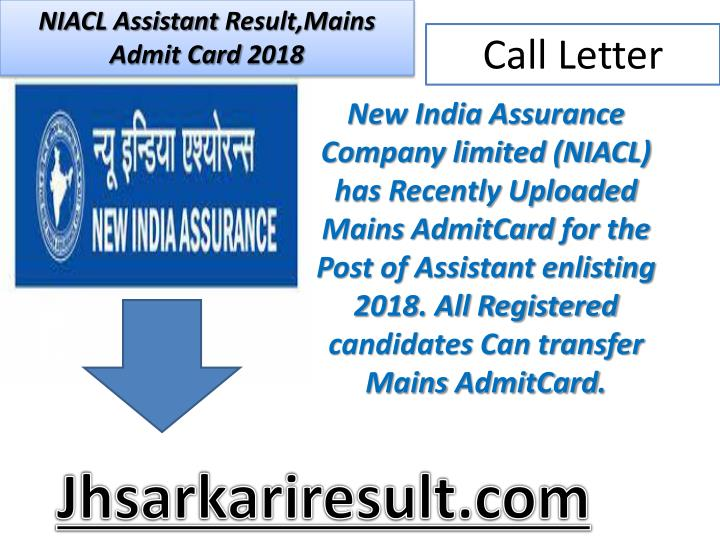 niacl assistant result mains admit card 2018 n.