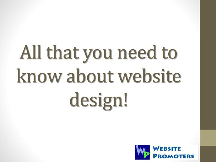 all that you need to know about website design n.