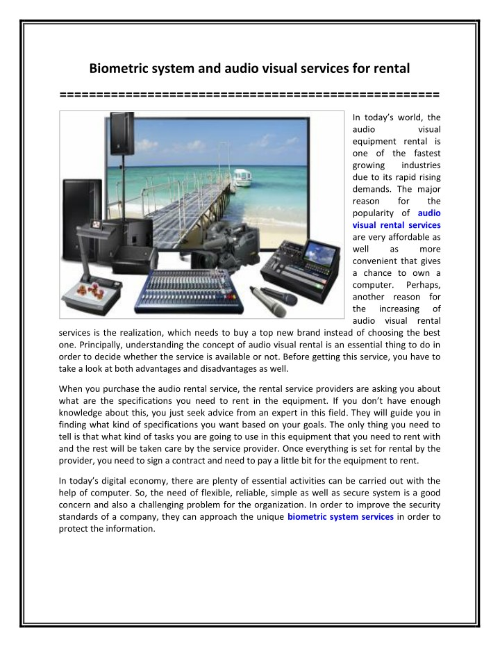 biometric system and audio visual services n.