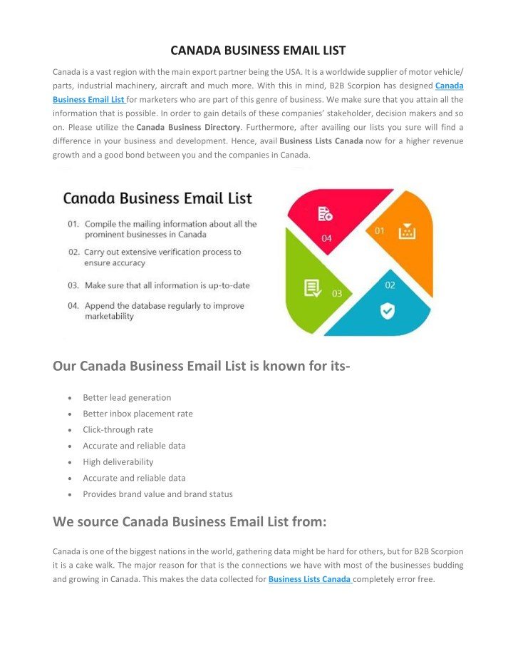 canada business email list n.