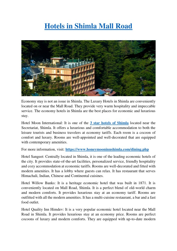 hotels in shimla mall road n.