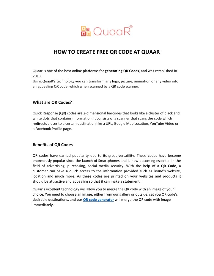 how to create free qr code at quaar n.